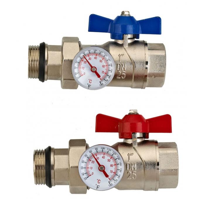 Комплект из двух шаровых кранов Wester 1 с накидной гайкой и термометрами V2