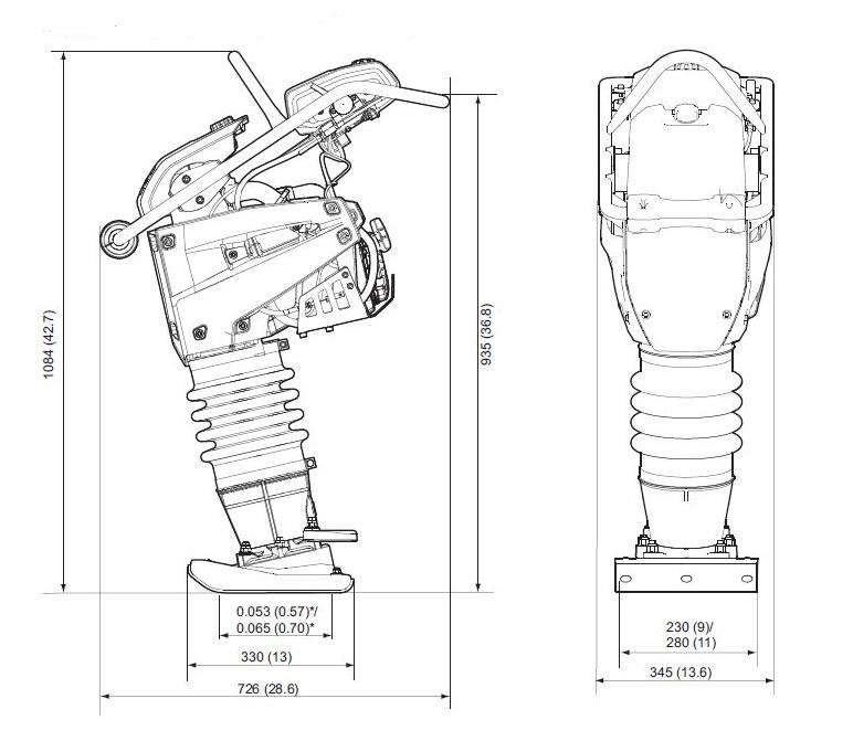 Размеры вибротрамбовки